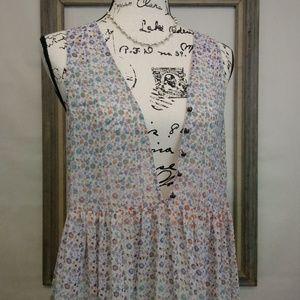 Anthro Maeve Semi Sheer Deep V Floral Dress M